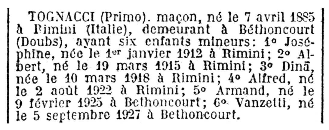 """Notícia de la naturalització de Primo Tognacci apareguda en el """"Journal Officiel de la République française"""" del 21 de juliol de 1929"""