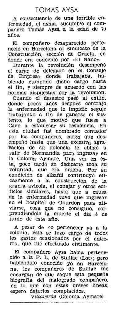 """Necrològica de Tomàs Aysa Piqué apareguda en el periòdic parisenc """"Solidaridad Obrera"""" del 13 d'agost de 1959"""