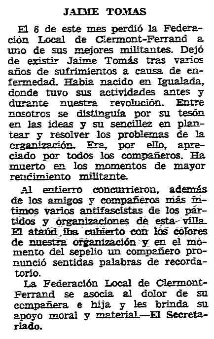 """Necrològica de Jaume Tomàs Turull apareguda en el periòdic tolosà """"CNT"""" del 29 de desembre de 1957"""