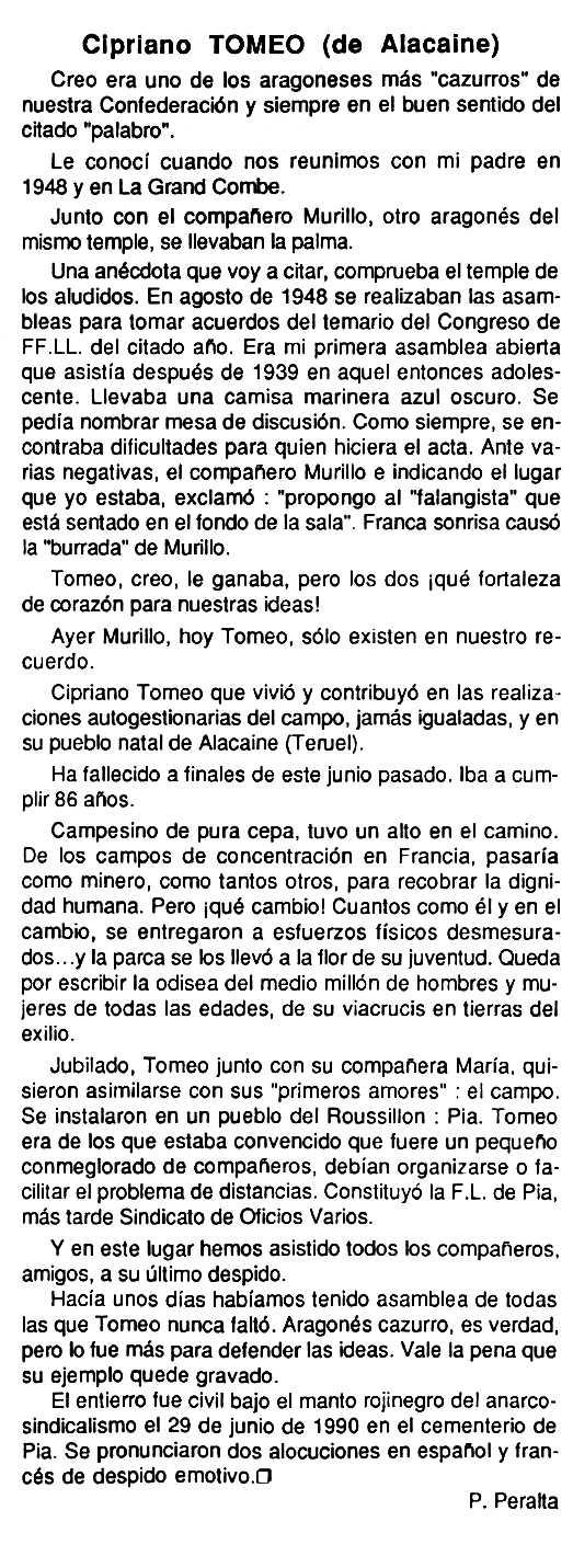 """Necrològica de Cipriano Tomeo Adán apareguda en el periòdic tolosà """"Cenit"""" del 4 de setembre de 1990"""
