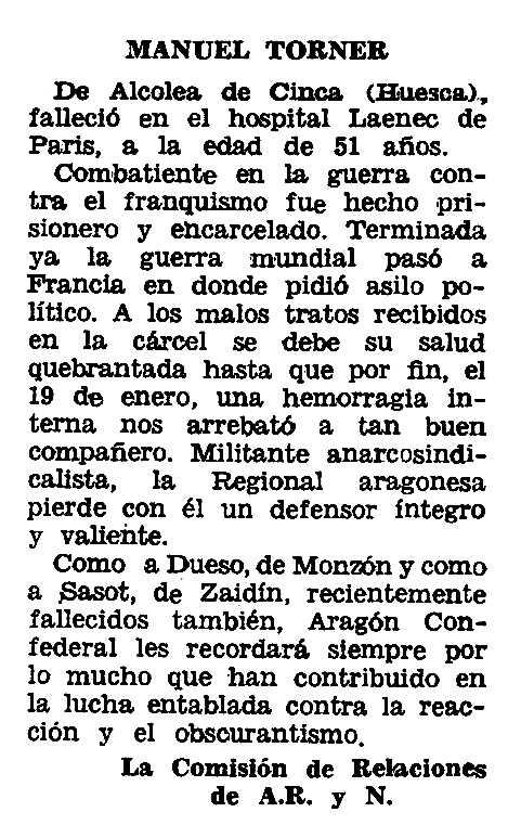 "Necrològica de Manuel Torner Bosqué apareguda en el periòdic tolosà ""Espoir"" del 8 de maig de 1966"