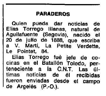 """Notícia sobre la recerca d'Elías Torrego Illanas aparaguda en el periòdic tolosà """"Espoir"""" del 26 de gener de 1969"""