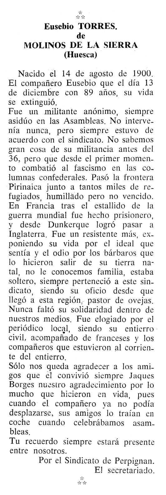 """Necrològica d'Eusebio Torres apareguda en el periòdic tolosà """"Cenit"""" del 27 de març de 1990"""