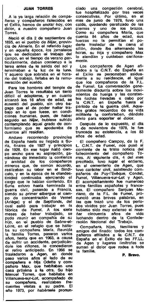 """Necrològica de Juan Torres Hernández apareguda en el periòdic tolosà """"Espoir"""" del 4 de desembre de 1978"""