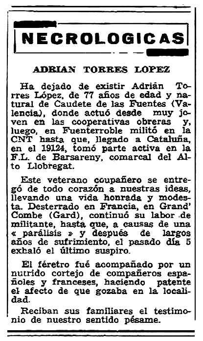 "Necrològica d'Adrián Torres López apareguda en el periòdic parisenc ""Solidaridad Obrera"" del 24 de juny de 1954"