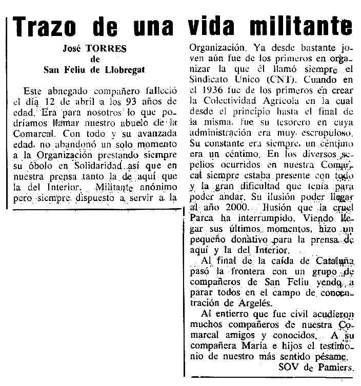 """Necrològica de Josep Torres Vallès apareguda en el periòdic tolosà """"Cenit"""" del 22 de maig de 1990"""