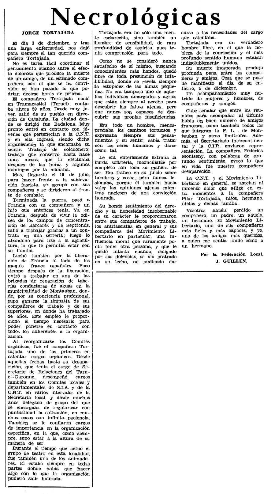 """Necrològica de Jorge Tortajada García apareguda en el periòdic tolosà """"Espoir"""" del 24 de gener de 1971"""