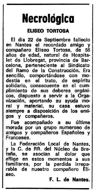 """Necrològica d'Eliseo Tortosa Lorente apareguda en el periòdic tolosà """"Espoir"""" del 7 de desembre de 1969"""