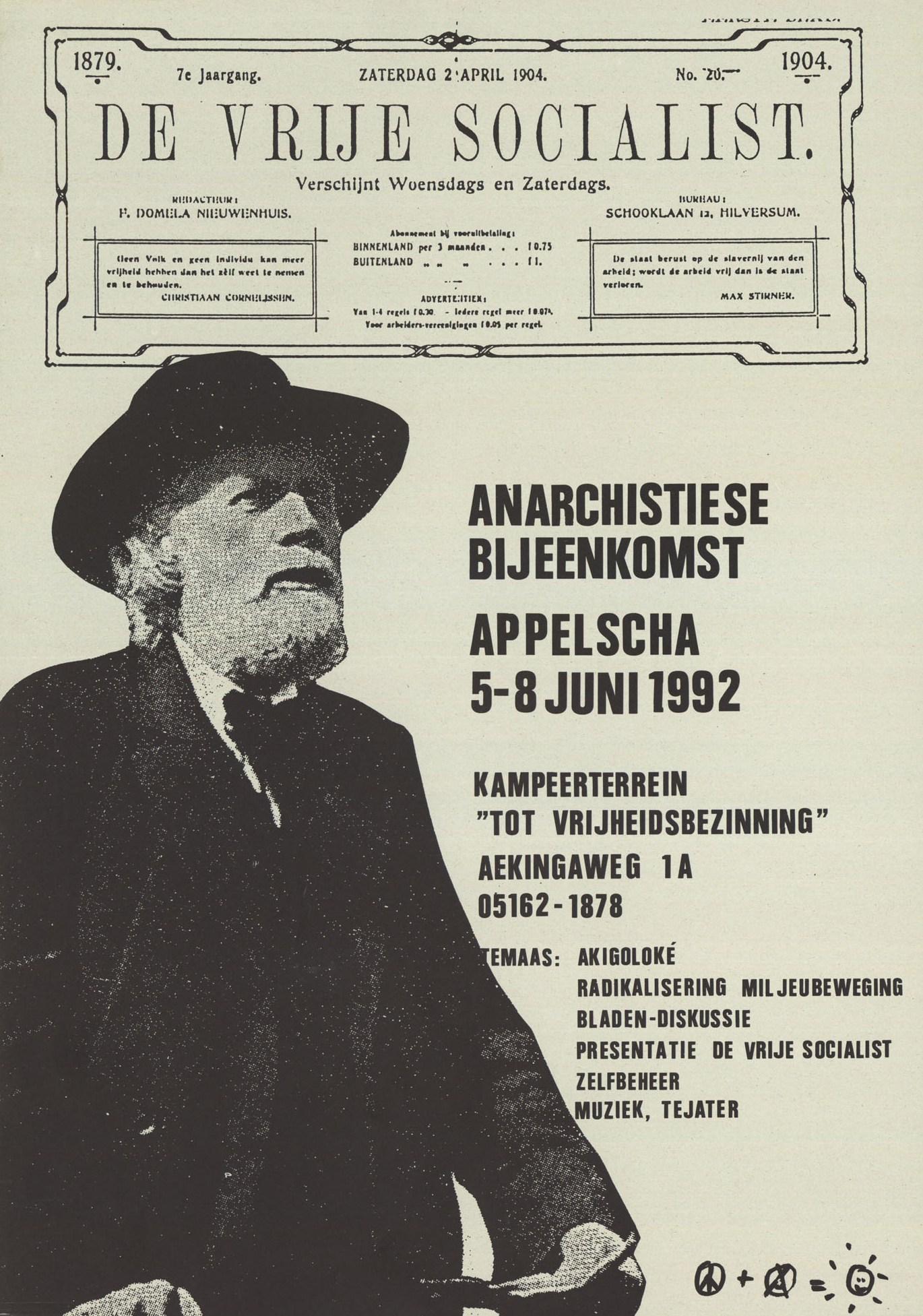 "Cartell de «Tot Vrijheidsbezinning», amb Ferdinand Domela Nieuwenhuis com a ""leitmotiv"""