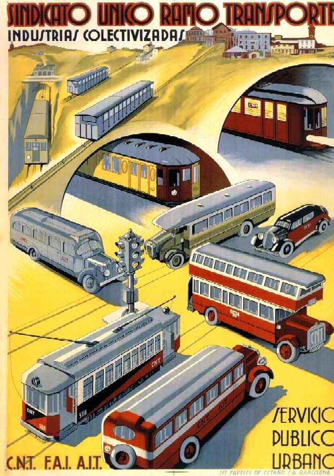 Cartell del Sindicat Únic del Ram del Transport de Ricard Obiols (1937)