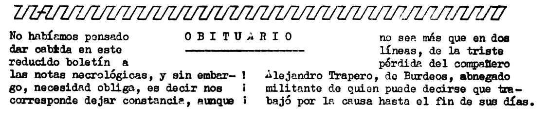 """Necrològica d'Alejandro Trapero Recuero apareguda en el periòdic parisenc """"Confrontación"""" de l'1 d'octubre de 1977"""