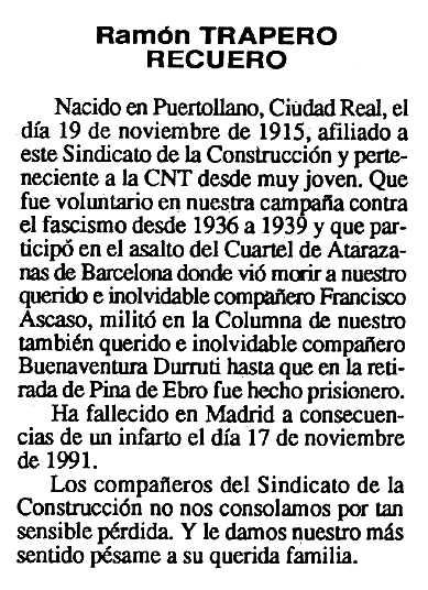 """Necrològica de Ramón Trapero Recuero apareguda en el periòdic tolosà """"Cenit"""" del 24 de desembre de 1991"""