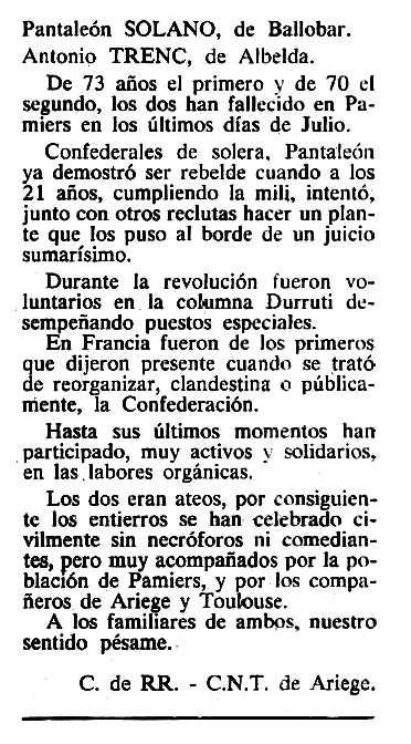 """Necrològica d'Antoni Trenc Cases apareguda en el periòdic tolosà """"Cenit"""" del 25 de setembre de 1984"""