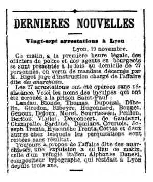"""Notícia de la detenció d'Hyacinthe Trenta apareguda en el diari parisenc """"La Lanterne"""" del 21 de novembre de 1882"""