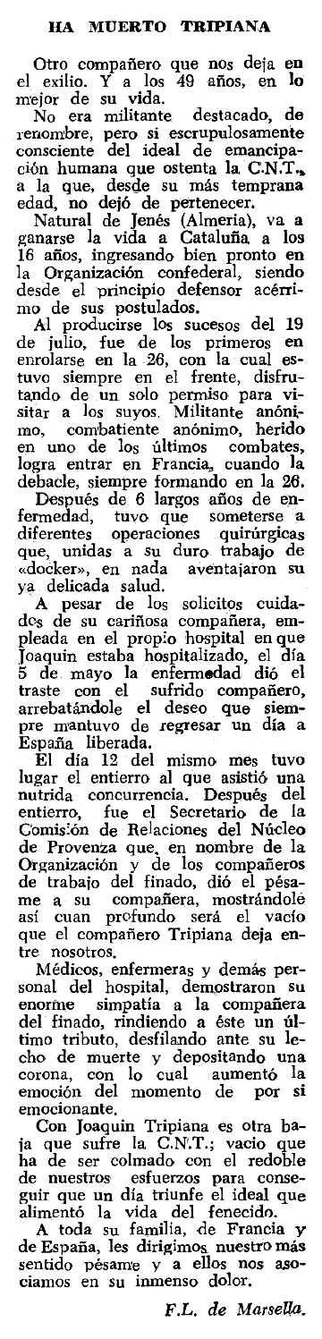 "Necrològica de Joaquín Tripiana Rubio apareguda en el periòdic tolosà ""Espoir"" del 14 d'octubre de 1962"