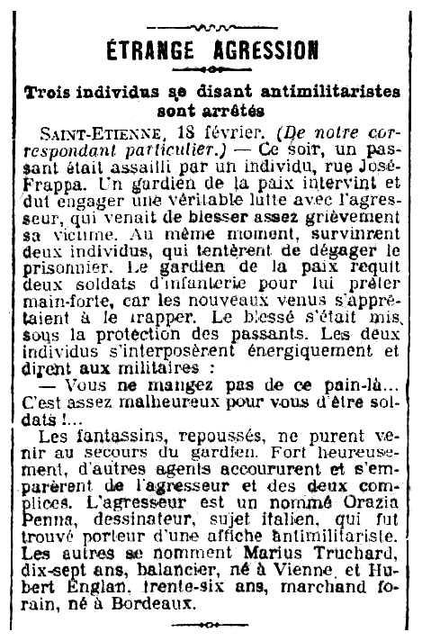 """Notícia sobre la detenció de Marius Truchard apareguda en el diari parisenc """"Le Journal"""" del 19 de febrer de 1906"""