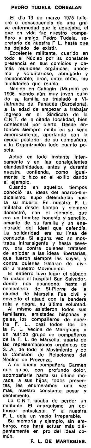 """Necrològica de Pedro Tudela Corbalán apareguda en el periòdic tolosà """"Espoir"""" del 22 de juny de 1975"""