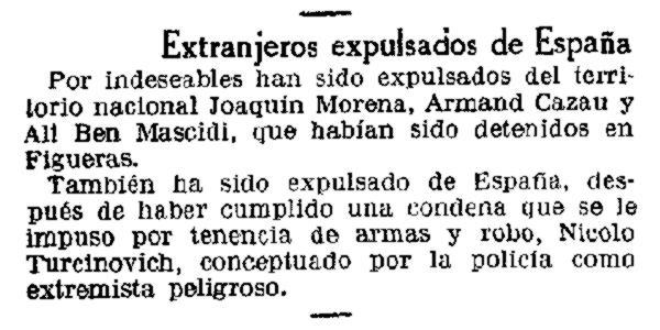 """Notícia de l'expulsió de Turcinovic apareguda en """"La Vanguardia"""" de Barcelona del 25 de setembre de 1934"""