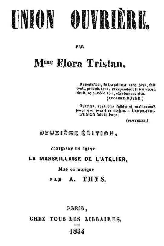 """Portada de la segona edició de """"L'union ouvrière"""""""