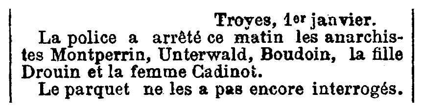 """Notícia de la detenció Mathias Unterwald apareguda en el diari parisenc """"Le XIXe Siècle"""" del 3 de gener de 1894"""