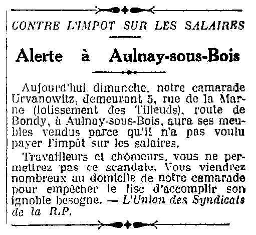 """Notícia sobre l'acte de rebel·lia d'Eugène Urvanovitch publicada en el periòdic """"L'Humanité"""" del 30 de gener de 1927"""