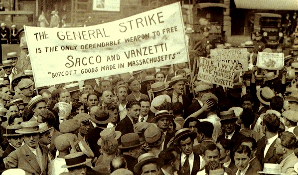 """""""Wobblies"""" en huelga general por Sacco y Vanzetti"""