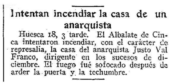 "Notícia de l'atemtat a la casa de Justo Val Franco apareguda en el periòdic madrileny ""ABC"" del 19 de juliol de 1934"