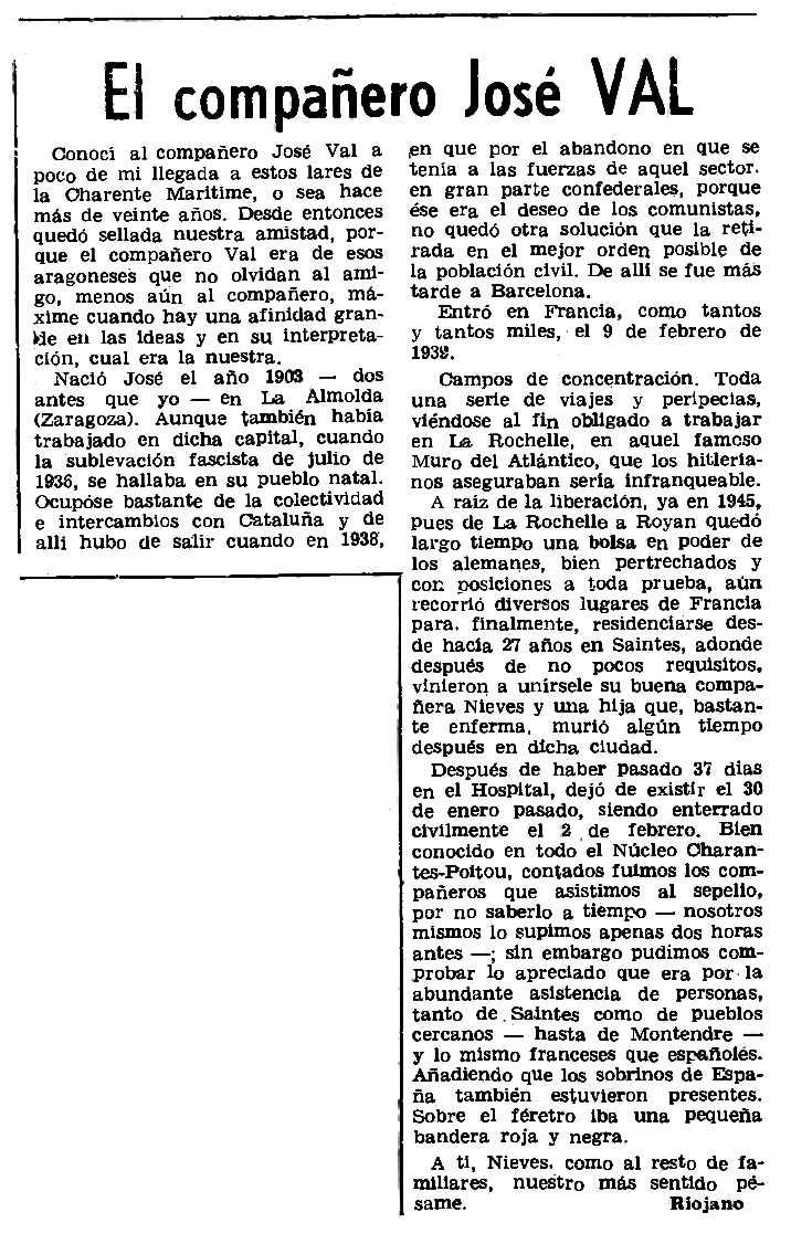 """Necrològica de José Val apareguda en el periòdic parisenc """"Le Combat Syndicaliste"""" del 12 de juny de 1975"""