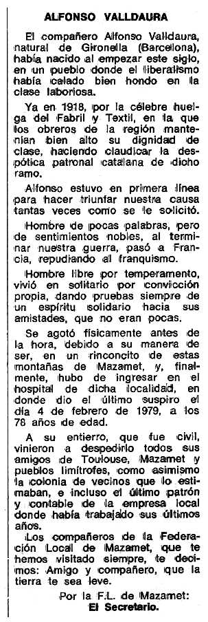 "Necrològia d'Alfons Valldaura Montadas apareguda en el periòdic tolosà ""Espoir"" de l'1 de juny de 1979"