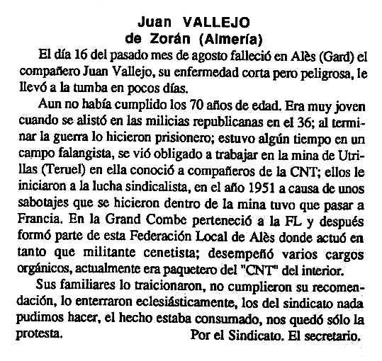 """Necrològica de Juan Vallejo Carrasco apareguda en el periòdic tolosà """"Cenit"""" del 25 de setembre de 1990"""