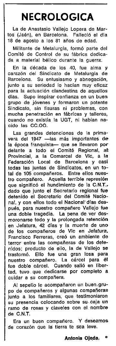 """Necrològica d'Anastasio Vallejo Lopera apareguda en el periòdic tolosà """"Cenit"""" del 8 de febrer de 1983"""
