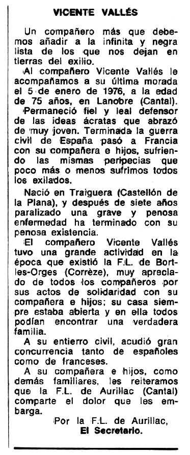 """Necrològiva de Vicent Vallés Puig apareguda en el periòdic tolosà """"Espoir"""" del 2 de maig de 1976"""