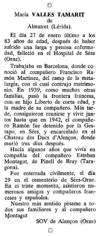 """Necrològica de Maria Vallés Tamarit apareguda en el periòdic tolosà """"Cenit"""" del 12 d'abril de 1988"""