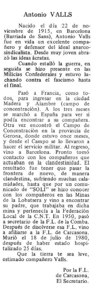 """Necrològica d'Antoni Valls Balcells apareguda en el periòdic tolosà """"Espoir"""" del 28 de setembre de 1980"""