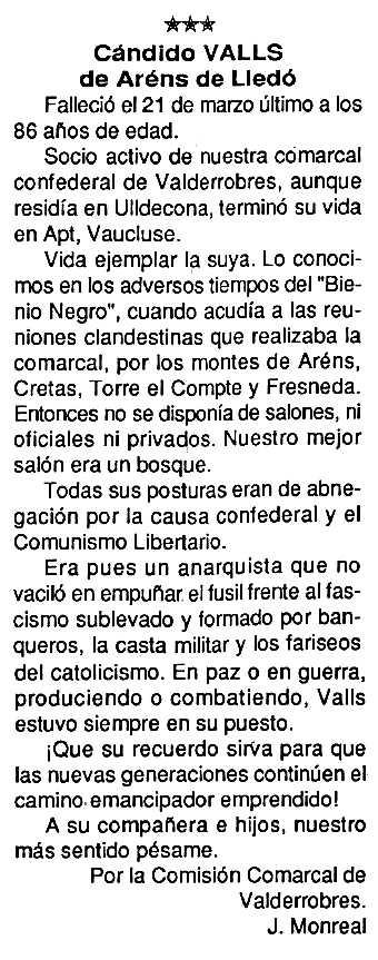"""Necrològica de Càndid Valls Casé apareguda en el periòdic tolosà """"Cenit"""" del 25 d'agost de 1992"""