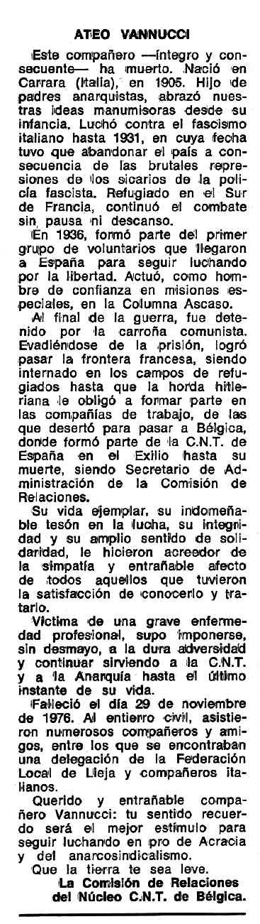 """Necrològica d'Ateo Vannucci apareguda en el periòdic tolosà """"Espoir"""" del 27 de febrer de 1977"""