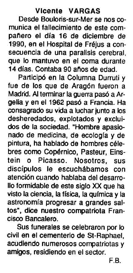 """Necrològica de Vicente Sánchez Palacios (""""Vicente Vargas"""") apareguda en el periòdic tolosà """"Cenit"""" del 12 de febrer de 1991"""