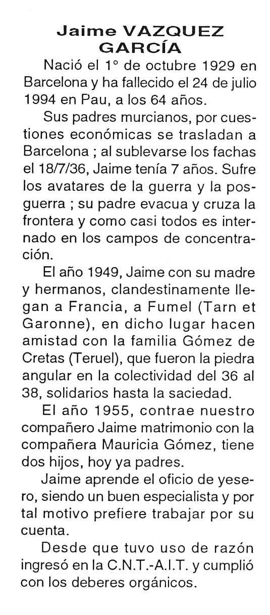 """Necrológica de Jaime Vázquez García aparecida en el periódico tolosano """"Cenit"""" del 27 de septiembre de 1994"""