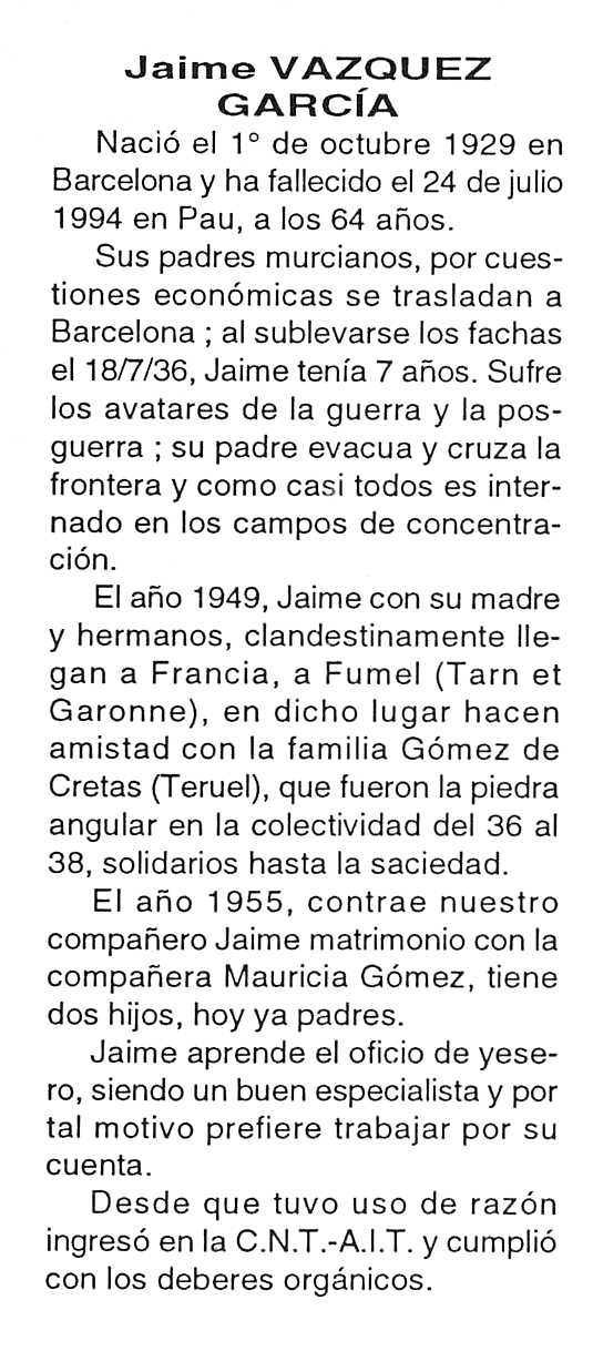 "Necrològica de Jaime Vázquez García apareguda en el periòdic tolosà ""Cenit"" del 27 de setembre de 1994"