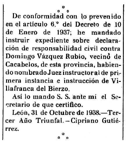 """Notificació de l'obertura de l'expedident de «responsabilitat civil» de Domingo Vázquez Rubio apareguda en el """"Boletín Oficial de la Província de León"""" del 25 de novembre de 1938"""