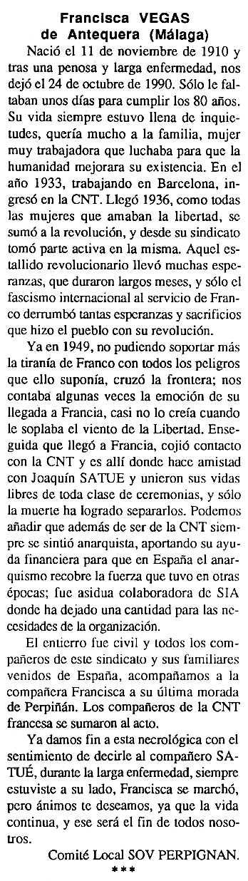 "Necrològica de Francisca Vegas apareguda en el periòdic tolosà ""Cenit"" del 15 de gener de 1991"