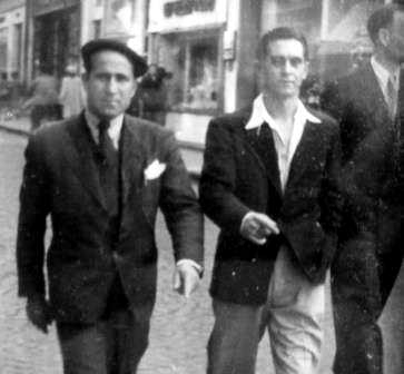 Jesús Veiga Fervenza (esquerra) amb un company (Bordeus, ca. 1948) [militants-anarchistes.info]