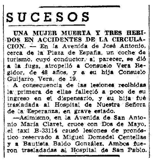 """Notícia de la mort de Consuelo Vera Regidor apareguda en el diari barcelonès """"La Vanguardia"""" de l'1 de juliol de 1951"""