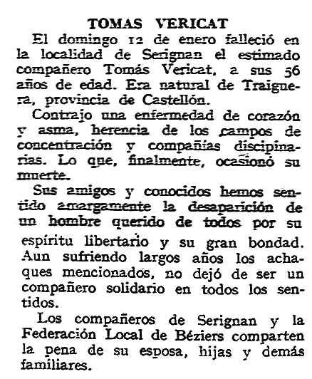 """Necrològica de Tomàs Vericat Roig apareguda en el periòdic tolosà """"CNT"""" del 9 de febrer de 1958"""