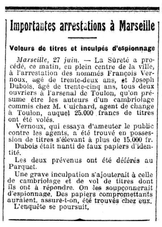 """Notícia de la detenció de François Vernaux apareguda en el periòdic parisenc """"L'Homme Libre"""" del 28 de juny de 1913"""