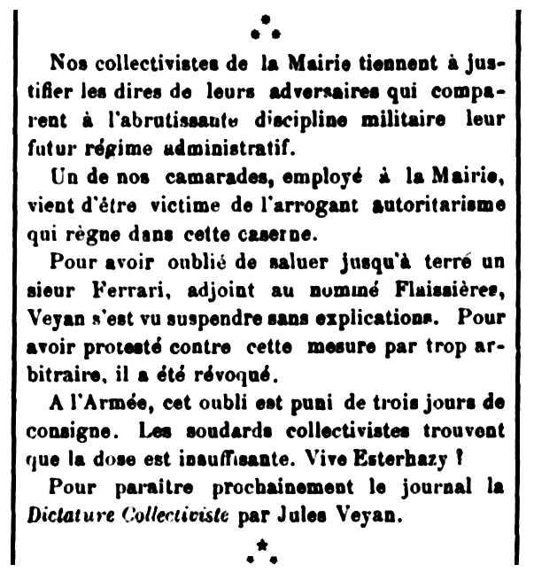 """Notícia sobre l'acomiadament de Jules Veyan publicada en el periòdic parisenc """"Le Libertaire"""" del 3 d'abril de 1898"""
