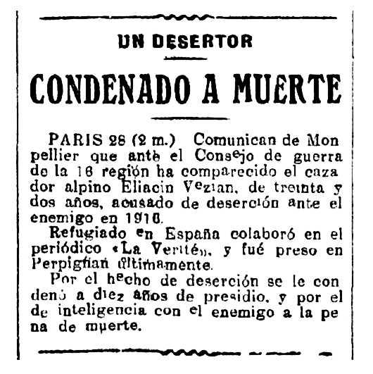 """Notícia de la condemna d'Éliacin Vézian apareguda en el periòdic madrileny """"La Nación"""" del 28 de juliol de 1918"""