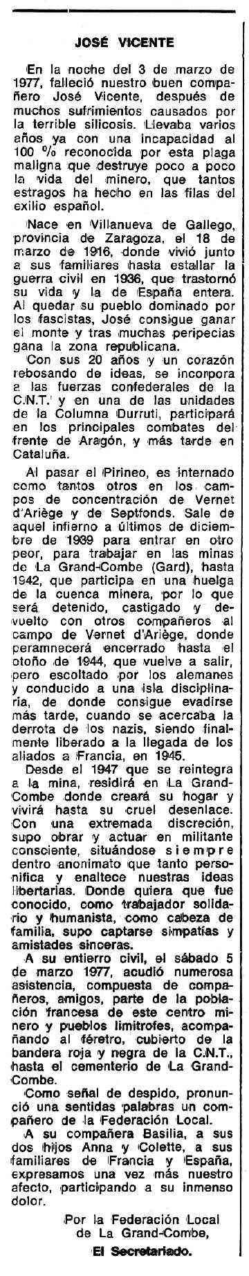 """Necrològica de José Vicente Burillo apareguda en el periòdic tolosà """"Espoir"""" del 8 de maig de 1977"""