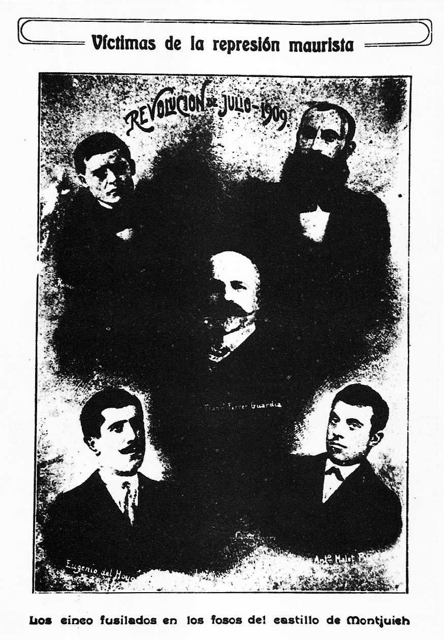 """Els cinc afusellats pels fets de la """"Setmana Tràgica"""": Ferrer i Guàrdia (centre), Clemente García (superior esquerra), Miquel Baró (superior dreta), Del Hoyo (inferior esquerra) i Malet Pujol (inferior dreta). """"Tierra y Libertad"""" (26-06-1910)"""