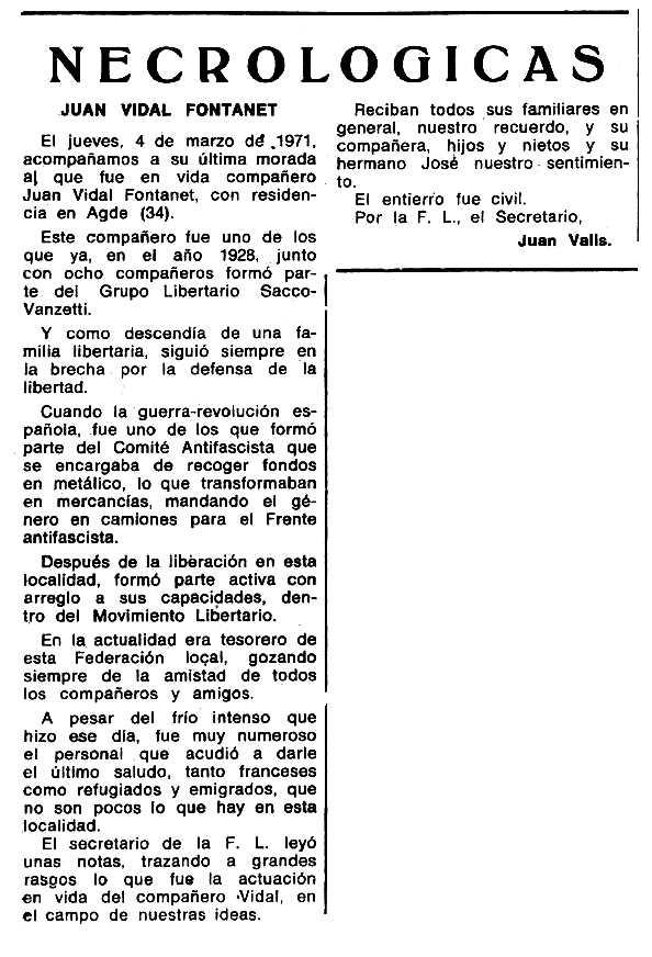 """Necrològica de Joan Vidal Fontanet apareguda en el periòdic tolosà """"Espoir"""" del 16 de maig de 1971"""